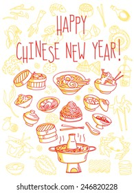 Happy Chinese New Year food themed greeting card. Vector freehand illustration isolated on white background