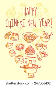 Happy Chinese New Year food themed greeting card