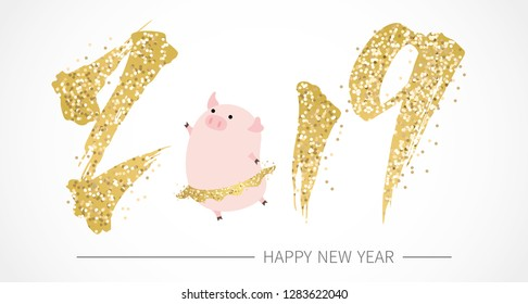 Happy Chinese new year with golden 2019 and cute pig.  year of the pig.
