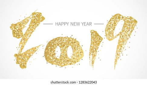 Happy Chinese new year with golden 2019 and pig's nose.  year of the pig.