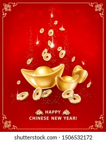 Happy Chinese New Year. Greeting card with realistic gold ingots Yuan Bao and falling coins on red background in frame. The wish of wealth, abundance and monetary luck. Vector illustration