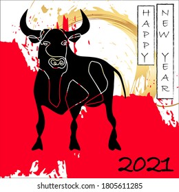 Happy Chinese New Year greeting card 2021. Aggressive black bull against background of golden sun. Red strokes of paint. Zodiac sign ox, cow or bull. Lunar horoscope, calendar.