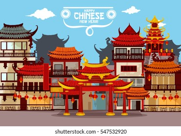 Happy Chinese New Year greeting card with festive town. Traditional chinese townscape of street with pagoda and gate, decorated by red paper lanterns. Asian Spring Festival holidays poster design