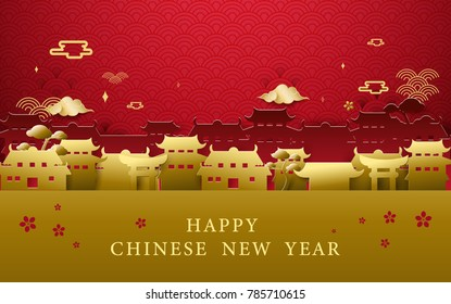 Happy Chinese new year greetings. Gold and red Chinese village background
