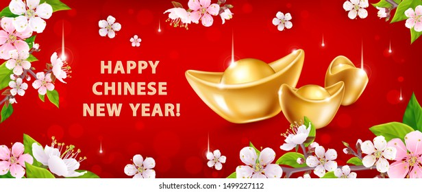 Happy Chinese New Year. Horizontal banner with realistic gold ingots Yuan Bao and spring flowers on red background. The wish of wealth, abundance and monetary luck. Vector illustration