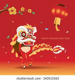 Happy Chinese New Year  with Lion dance