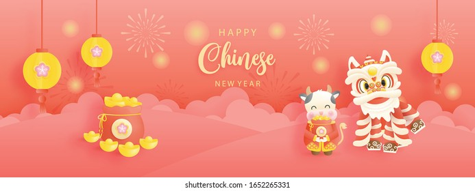 Happy Chinese New Year with year of ox. 2021 for card and banner. Vector illustration