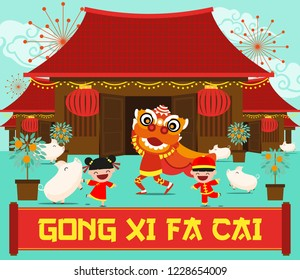 HAPPY CHINESE NEW YEAR. YEAR OF THE PIG. VILLAGERS CELEBRATING CHINESE NEW YEAR. VECTOR ILLUSTRATIONS. CHILDREN PLAYING WITH LION DANCE. TRANSLATION : HAPPY CHINESE NEW YEAR