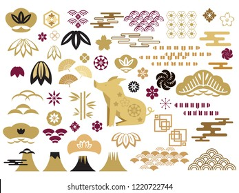 Happy chinese new year, year of the pig.Template banner, poster in oriental style.  Cloud, wild  boar, pig,  wave, moon, bamboo tree, sakura, and mountain. Vector icon flat  illustration.