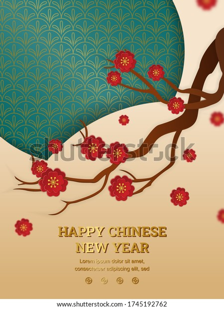 Happy chinese new year: Chinese plum tree branch  with paper cut art and craft style on green and yellow background. Vector Illustration for greeting card, flyer, banner, web, and many purpose