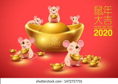 Happy Chinese new year. Year of rat 2020. Rats and Ingots Vector.