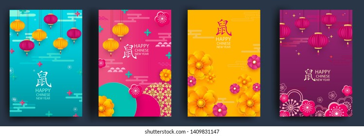 Happy chinese new year. Set of cards. Rat -symbol 2020 New Year.Template banner, poster in oriental style. Japanese, chinese elements. Rat zodiac sign.Vector illustration.