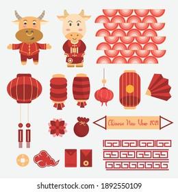 happy Chinese new year set vector art
