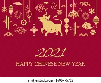 Schönes chinesisches Neujahr. der weiße Metallox ist ein Symbol für 2021, das chinesische Neujahr. Template Banner, Poster, Grußkarten. Sakura, Ratte, Laterne, Blumen. goldene Vektorillustration