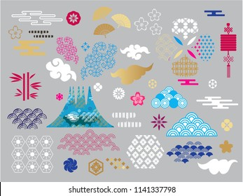 Happy chinese new year..Template banner, poster in oriental style. chinese elements. Cloud, wave, moon, bamboo tree, sakura, and mountain. Vector illustration.