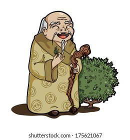 Happy chinese old man holding a tea leaf