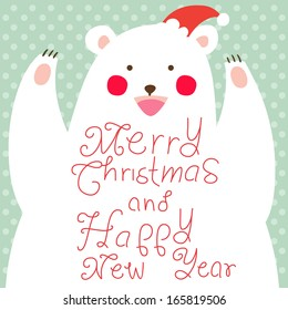 Happy Christmas Bear,greeting card