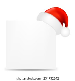 Happy Christmas Card With Santa Hat With Gradient Mesh, Vector Illustration