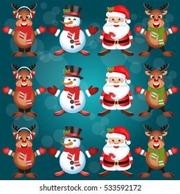 Happy Christmas companions.Vector Christmas.Seamless holiday background .
