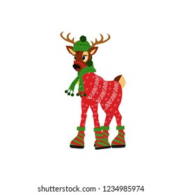 Happy Christmas cute deer in a cap and scarf isolated on white background. Great for Christmas and New Year posters, banners, gift tags and labels.