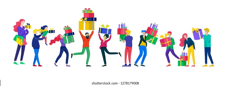 Happy Christmas Day Celebrating together happy. Group of cartoon people in Santa hats and children. Jump and throw gift. Merry Christmas and Happy New Year or birthday party family character