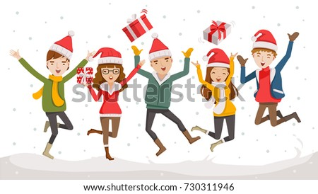 Happy Christmas Day Celebrating Together Happy Stock Vector (Royalty ...