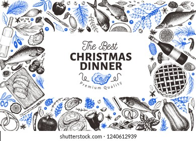 Happy Christmas Dinner design template. Vector hand drawn illustrations. Greeting card in vintage style. Frame with harvest, vegetables, pastry, bakery, seafood, fish. Great for invitation, menu cover
