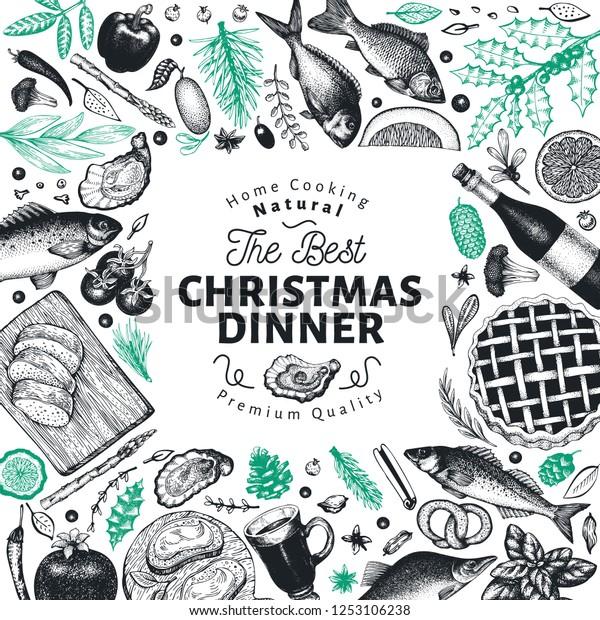 Happy Christmas Dinner Design Template Vector Stock Vector