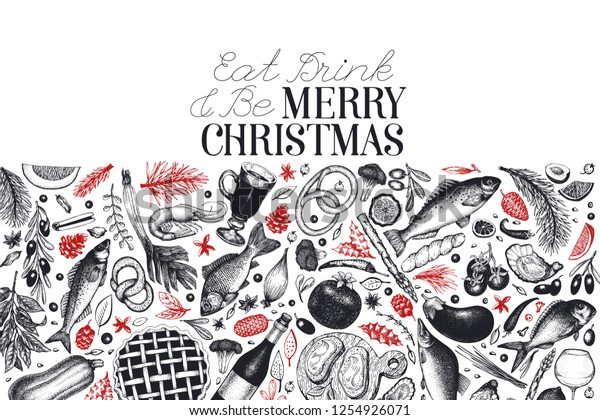 Happy Christmas Dinner Design Template Vector Stock Image