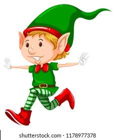 Happy christmas elf running illustration