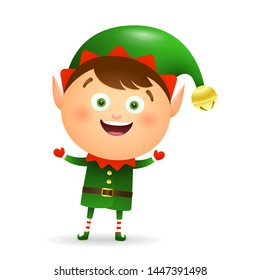 Happy Christmas elf wearing green costume cartoon illustration. Fairy tale, celebration, congratulation. Christmas concept. Vector illustration can be used for topics like holiday, childhood, event