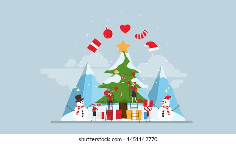 Happy Christmas Moment Tiny People Character Concept Vector Illustration, Suitable For Wallpaper, Banner, Background, Card, Book Illustration, Web Landing Page, and Other Related Creative