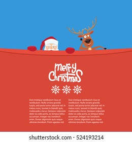Happy Christmas reindeer and Santa cartoon characters behind a billboard. Great background for your invitation card. Cute Merry Christmas calligraphy and snowflakes
