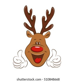 Happy Christmas reindeer showing ok sign. Illustration on white background.