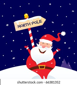 Happy Christmas Santa with North pole sign. Vector Illustration