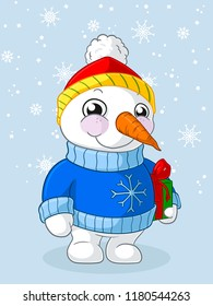 Happy Christmas snowman with a present