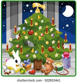 Happy christmas tree with presents and toys (isometric illustration)