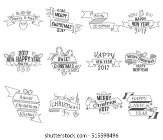 Happy Christmas wishes collection with ribbons and holiday symbols, elements - santa beard, sweets, christmas tree, toys. Retro colors. Vector isolated bundle.
