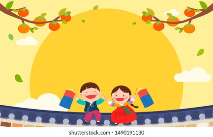 Happy Chuseok Background vector illustration. Kids in Korean Hanbok costume sitting on the roof with copy space