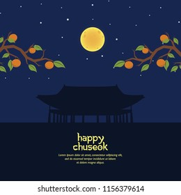 Happy Chuseok with Branch and Korean Building Silhouette