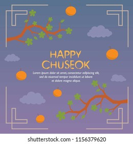 Happy Chuseok with Branch and Orange Fruit And Cloud Background