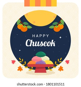 Happy Chuseok greeting card vector illustration. Songpyeon(rice cake) on Autumn night background