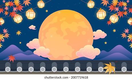 Happy Chuseok (Korean Harvest Festival) Background vector illustration. Autumn Maple tree branch with Full Moon on night sky