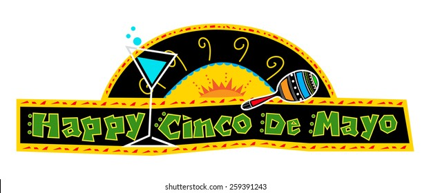 Happy Cinco de Mayo Banner - Mexican art style Cinco de Mayo banner made with bold colors includes decorative text and Mexican elements on a black background. Eps10