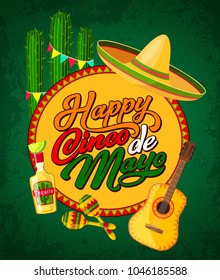 Happy Cinco de Mayo festive banner with Latin American fiesta party symbols. Festival sombrero, maracas and guitar, tequila, cactus and bunting poster. Puebla battle anniversary greeting card design