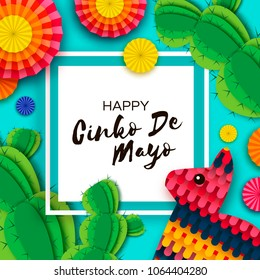 Happy Cinco de Mayo Greeting card. Colorful Paper Fan, Funny Pinata and Cactus in paper cut style. Mexico, Carnival. Square frame on blue. Space for text.