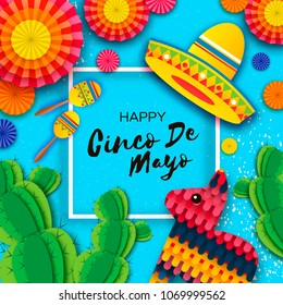 Happy Cinco de Mayo Greeting card. Colorful Paper Fan, Funny Pinata, Maraca and Cactus in paper cut style. Origami Sombrero hat. Mexico, Carnival. Music. Square frame on blue. Space for text. Vector.