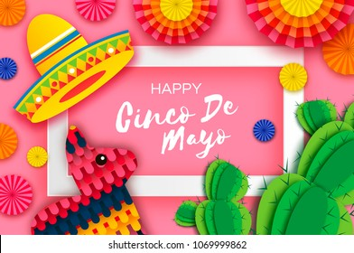 Happy Cinco de Mayo Greeting card. Colorful Paper Fan, Funny Pinata and Cactus in paper cut style. Origami Sombrero hat. Mexico, Carnival. Recangle frame on pink. Space for text. Vector.