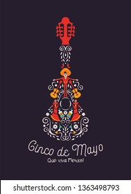 Happy Cinco de Mayo greeting card illustration for mexico independence celebration. Mexican guitar with traditional culture decoration. Includes mariachi man, skeleton woman and chili pepper.