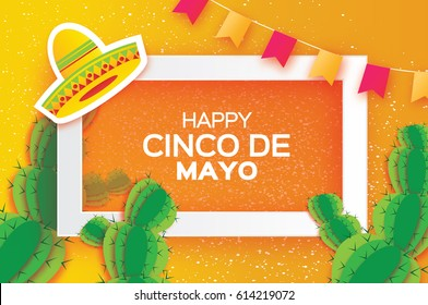 Happy Cinco de Mayo Greeting card. Origami Mexican sombrero hat, succulents,flags. Mexico, Carnival. Orange background with paper cut cactus. Rectangle frame for text. Vector illustration.